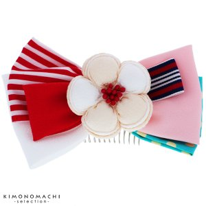 リボン髪飾り「ホワイト お花とリボン」リボン髪飾り 卒業式の袴に 髪飾り リボンコーム お花髪飾り
