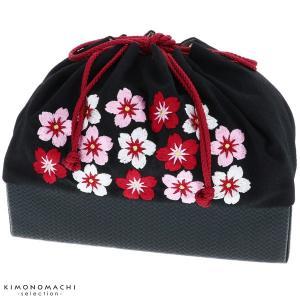 刺繍巾着「黒色 桜刺繍」袴巾着