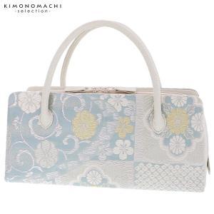 礼装 和装バッグ「浅縹色×シルバー 更紗」 利休バッグ 帯地バッグ 西陣織バッグ|kimonomachi