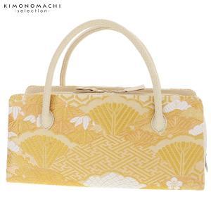 礼装 和装バッグ「ゴールド 吉祥雪輪重ね」 利休バッグ 帯地バッグ 西陣織バッグ|kimonomachi