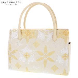 礼装 和装バッグ「生成り×ゴールド 輪繋ぎ華文」 ダブルファスナー 帯地バッグ 西陣織バッグ|kimonomachi