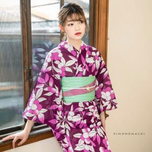 浴衣 レディース 「木の実 紫色」 綿絽 大人 女性浴衣単品 ゆかた 夏着物 きもの町オリジナル KIMONOMACHI(メール便不可)|kimonomachi