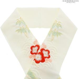 刺繍 半衿 「薄生成り青海波模