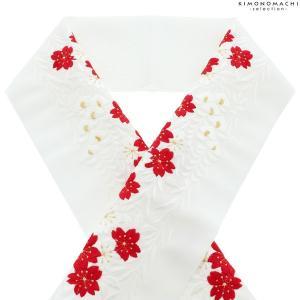 刺繍 半衿 「赤白桜と藤」 衿