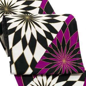 振袖 帯 「紫、黒 スパイラル