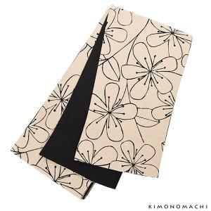 木綿半幅帯「ベージュ 花」 木綿帯 半巾帯 コットン細帯 コットン帯 仕立て上がり帯 カジュアル 洒...