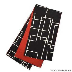 木綿半幅帯「黒地 スクエア」 木綿帯 半巾帯 コットン細帯 コットン帯 仕立て上がり帯 カジュアル ...