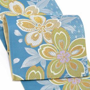 振袖 帯 「青色 雪輪に桜」