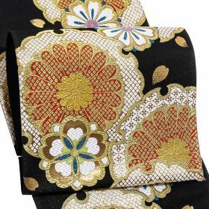 振袖 帯 「黒地 雪輪に菊」