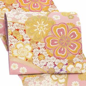 振袖 帯 「薄ピンク 花」 日本製 西陣織 証紙番号2362 大光株式会社謹製 絹 未仕立て 六通柄 振袖用 袋帯 振袖帯 <T>(メール便不可) kimonomachi