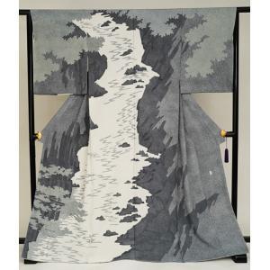 名匠 日本工芸会正会員 大村禎一 ローケツ染手描き訪問着「渓谷の清流」逸品訪問着|kimonotanaka