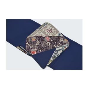 栗山吉三郎紅型染め「切ばめ」創作袋帯・紺色 kimonotanaka