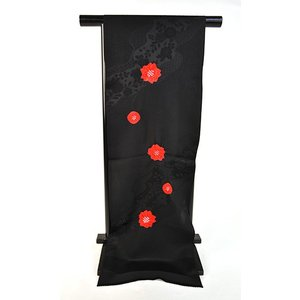 正絹絞り高級おしゃれ帯揚げ「黒地に赤絞り」|kimonotanaka