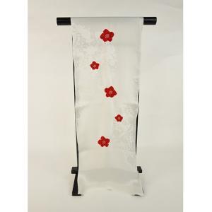 正絹絞り高級おしゃれ帯揚げ「白地に赤絞り」|kimonotanaka