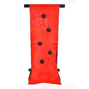 正絹絞り高級おしゃれ帯揚げ「赤地に黒絞り」|kimonotanaka