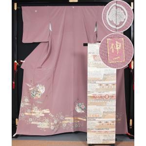 色留袖と袋帯のセット エ霞に小田巻き、華文模様 丸に蔦紋 作家もの 落款有り 三越  送料無料   リサイクル 着物 中古 着物 留袖 色留袖|kimonotenyou