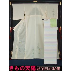 新品仕立上品 夏物 絽の付下げ訪問着と袋帯、帯揚げ、帯〆の4点セット 竹垣に葡萄唐草模様 裄長サイズ 正絹  送料無料 kimonotenyou