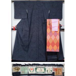 着物セット 重要無形文化財 本場結城紬と名古屋帯、帯揚げ、帯〆の4点セット 証紙付き  送料無料 リサイクル 着物|kimonotenyou