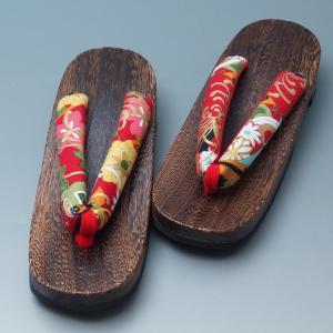 下駄 浴衣用 新品 ちりめん鼻緒  (4)高級焼桐台 滑り止め付 下駄 浴衣 女物 リサイクルきもの天陽 リサイクル着物|kimonotenyou