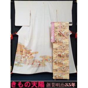 京友禅 訪問着セット 松井青々 刺繍の訪問着と未使用品袋帯、帯揚げ、帯締めの4点セット 五三の桐紋 正絹 送料無料 中古 リサイクル着物・訪問着|kimonotenyou