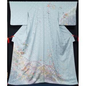 訪問着 新品手縫仕立て上がり品 花垣模様 裄長サイズ・トールサイズ 正絹 付下げ訪問着 着物 送料無料 |kimonotenyou