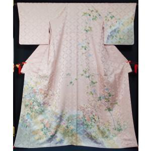 訪問着 新品手縫仕立て上がり品 春秋草花模様 裄長サイズ・トールサイズ 正絹 付下げ訪問着 着物 送料無料 リサイクル着物・アンティーク着物 kimonotenyou