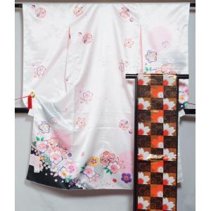 七五三 7歳 着物セット (3)ホワイト 着物・帯・長襦袢3点セット お祝い着 着物 7歳女児用 新品 フリーサイズ 四つ身 白 送料無料 753 七歳 kimonotenyou