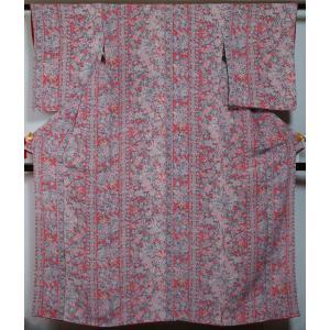小紋 和更紗 鳳凰に更紗模様 薄紅色 細身サイズ 更紗 ガード加工済 ちりめん 送料無料 中古 リサイクル着物 中古着物 リサイクル小紋 小紋着物 正絹 カジュアル|kimonotenyou