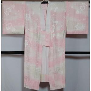 長襦袢 流水に桜・梅・菊模様 広巾 サイズ 単衣仕立て 袖は無双 ピンクぼかし 正絹 襦袢 巾広 広幅 中古 リサイクル長襦袢 リサイクル着物 正絹 襦袢 じゅばん|kimonotenyou