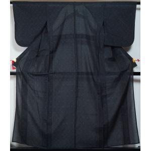 黒色の紗地に松皮菱模様が織られた夏大島紬です。   ◆仕立:単衣 居敷当て無し・共布背伏付き ◆おす...