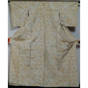 単衣 着物 紬 絣に植物模様 正絹 浅黄色 夏 着物 単 単衣の着物 6月 9月 正絹 きもの 着物 薄物 中古 紬 紬の着物 リサイクル着物 リサイクル紬 正絹 kimonotenyou