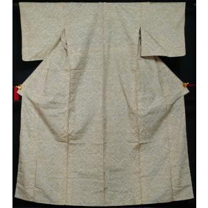 単衣 着物 紬 動物紋模様 灰黄緑色 夏 着物 単 単衣の着物 6月 9月 正絹 きもの 着物 薄物 ひとえ 中古 リサイクル着物 リサイクル紬 kimonotenyou