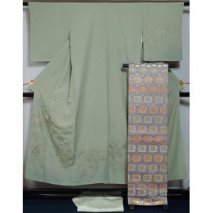 着物セット 訪問着・袋帯・長襦袢3点 セット 雲取に花垣模様 スワトウ 蘇州 刺繍 柳鼠色 送料無料 中古 リサイクル 訪問着 リサイクル着物 正絹 結婚式 kimonotenyou