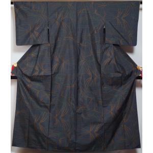 大島紬 ススキ模様 9マルキ 濃藍色 正絹 着物 紬 大島 紬 中古 紬の着物 リサイクル着物 リサイクル紬 正絹 カジュアル|kimonotenyou