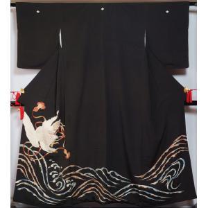 大彦謹製 アンティーク 黒留袖 着物リメイク 素材用 三越 広幅サイズ 鷹に紐・波頭模様 木瓜紋 刺繍 大彦 送料無料 中古 リサイクル着物 アンティーク 着物|kimonotenyou