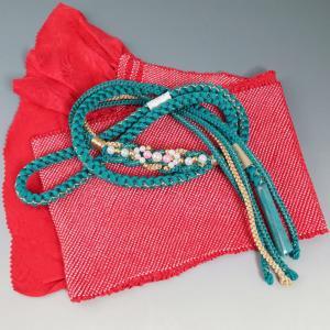 帯揚げ 帯締め セット 振袖用 総絞り 新品 四つ巻き (12) 送料無料 赤色系 パールビジュー 成人式 帯揚 帯締 帯〆 帯しめ 帯揚げ 帯締め セット|kimonotenyou