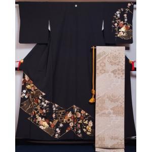 着物セット 訪問着・袋帯・帯締め 3点 セット 丸に梅鉢紋 重ね衿付き 裂取に雪輪・花綱模様 黒色 送料無料 中古 リサイクル 訪問着 リサイクル着物 正絹 結婚式 kimonotenyou