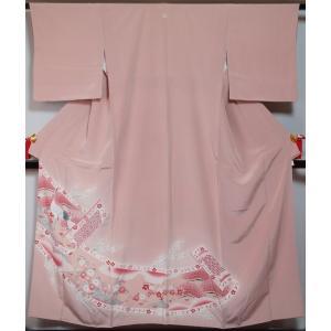 色留袖 鶴に熨斗・菊・梅模様 丸に抱き茗荷紋 ピンク色系 比翼無し訪問着格 訪問着 送料無料 中古 リサイクル 着物 色留袖 留袖 留め袖 結婚式 叙勲 一つ紋|kimonotenyou