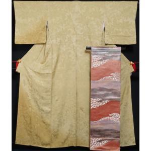 着物セット 訪問着 西陣 服部織物 袋帯 2点セット ぼかしに葉模様 鶸色 送料無料 中古 リサイクル 訪問着 リサイクル着物 仕立て上がり 正絹 訪問着 セット kimonotenyou
