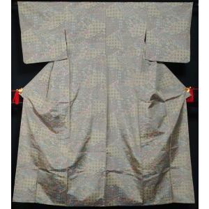 単衣 着物 大島紬 7マルキ 裂取菱模様 抹茶色系 縞大島 正絹 着物 紬 単衣着物 送料無料 中古 紬 紬の着物 リサイクル着物 リサイクル紬 正絹 kimonotenyou