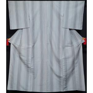 単衣 着物 紬 未使用品 縞模様 白藍色 正絹 着物 紬 単衣着物 送料無料 中古 紬 紬の着物 リサイクル着物 リサイクル紬 正絹 つむぎ カジュアル kimonotenyou