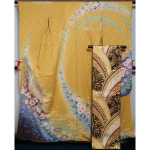 振袖セット 振袖 袋帯 2点 セット ぼかしに百花模様 緑黄色 ラメ 刺繍 着物 セット 送料無料 中古 リサイクル 振袖 リサイクル着物 成人式 卒業式 正絹 販売 kimonotenyou