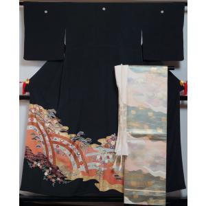 着物セット 黒留袖・袋帯・帯揚げ・帯締め 4点 セット 丸に五三の桐紋 三越 西陣 服部織物 送料無料 中古 リサイクル着物 結婚式 帯 留袖 販売 購入|kimonotenyou