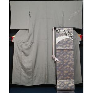 着物セット 訪問着・袋帯 2点セット 流水に小花模様 裄長サイズ 刺繍 ガード加工済 送料無料 中古 リサイクル 訪問着 リサイクル着物 正絹 購入 販売 kimonotenyou