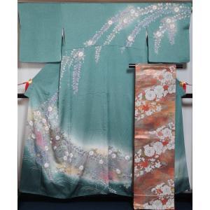 着物セット 訪問着 袋帯 2点セット 辻が花模様 水浅葱色 裄長 幅広 サイズ 絞り染め ちりめん 辻ヶ花 絞り 巾広 広幅 広巾 送料無料 中古 リサイクル着物 kimonotenyou