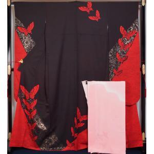 振袖セット 振袖 長襦袢 2点 セット 特幅 幅広サイズ 胡蝶模様 黒鳶色 振袖 着物 セット 広幅 広巾 巾広 幅広 送料無料 中古 リサイクル着物 成人式 着物 卒業式|kimonotenyou