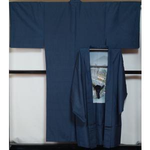男着物 紬 アンサンブル 着物・羽織・羽織紐 3点 セット Lサイズ 紺色 正絹 紬 送料無料 中古...