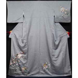 訪問着 撒き糊に高札、花鳥模様 裄長 トール サイズ 送料無料 中古 リサイクル 訪問着 リサイクル着物 仕立て上がり 正絹 訪問着 購入 販売|kimonotenyou