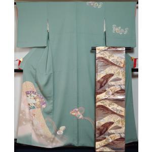 着物セット 付下げ訪問着・袋帯 2点セット 檜扇に貝合わせ模様 千草色 送料無料 中古 付下げ 付け下げ リサイクル 訪問着 リサイクル着物 正絹 購入 販売|kimonotenyou