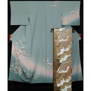 着物セット 訪問着・袋帯 2点セット 流水に春秋枝花模様 送料無料 中古 リサイクル 訪問着 リサイクル着物 仕立て上がり 正絹 訪問着 セット 購入 販売|kimonotenyou